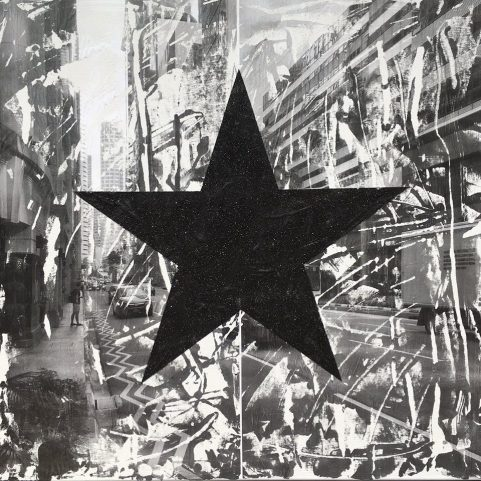 Black Star Gets Out Of The Car  36 x 26 Acrylic Ink and Glitter on Canvas.jpg