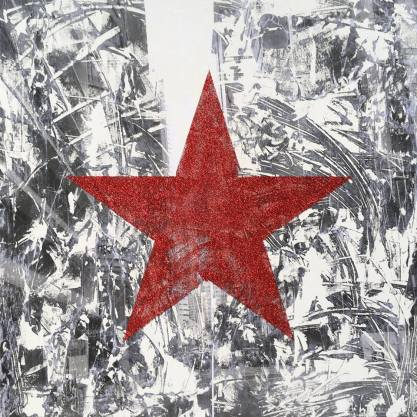 red-star-found-downtown36-x-26-acrylic-ink-and-glitter-on-canvas